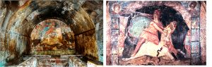 Colorful frescoes of the Mithraeum at Marino, Italy.